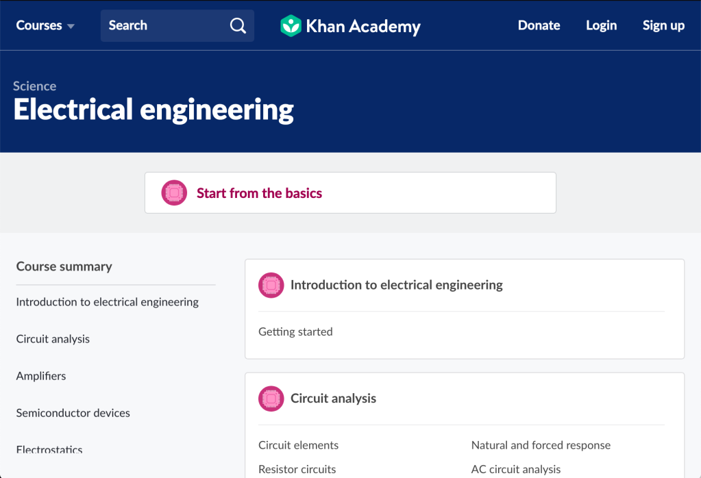 Electrical Engineering course at Khan Academy